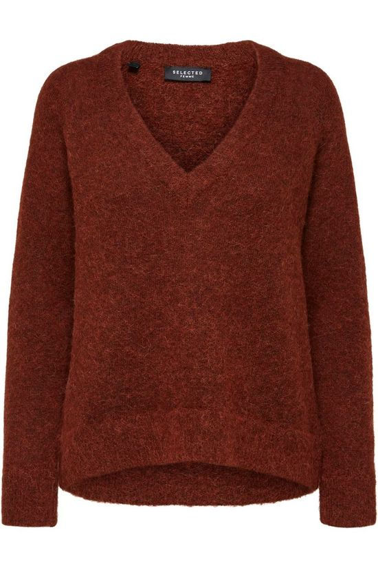 Selected Pull lulu Ls V Neck Nos Rouille