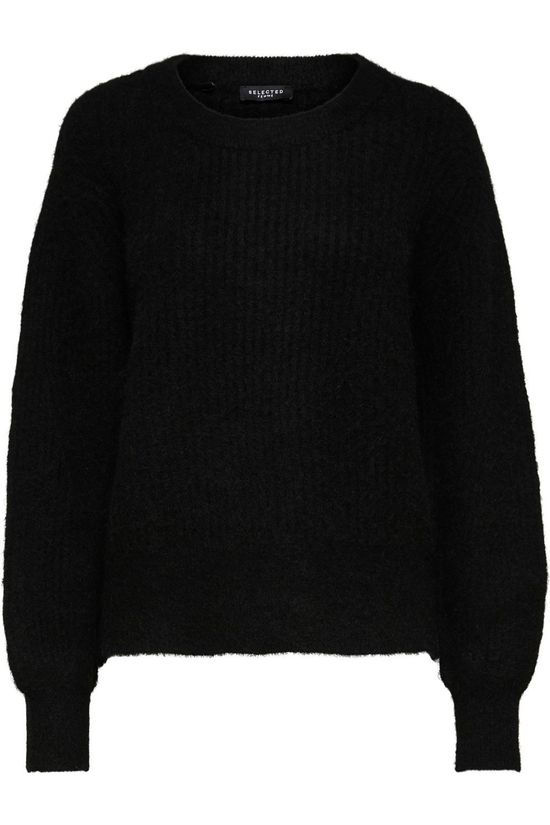Selected Trui sif-Kai Ls Rib O-Neck B Zwart