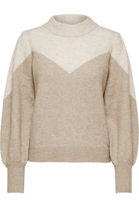 Selected Pullover star Ls Block Knit X-Mas O-Neck Ecru/Sand Brown