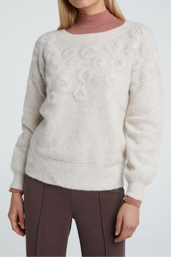 Yaya Trui With Puff Sleeves And Knitted Embroidery Lichtroze