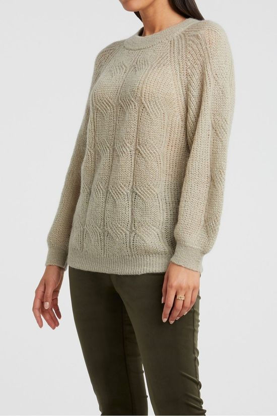 Yaya Trui Wool Blend Pointelle Knitted With Puff Sleeves Lichtbruin