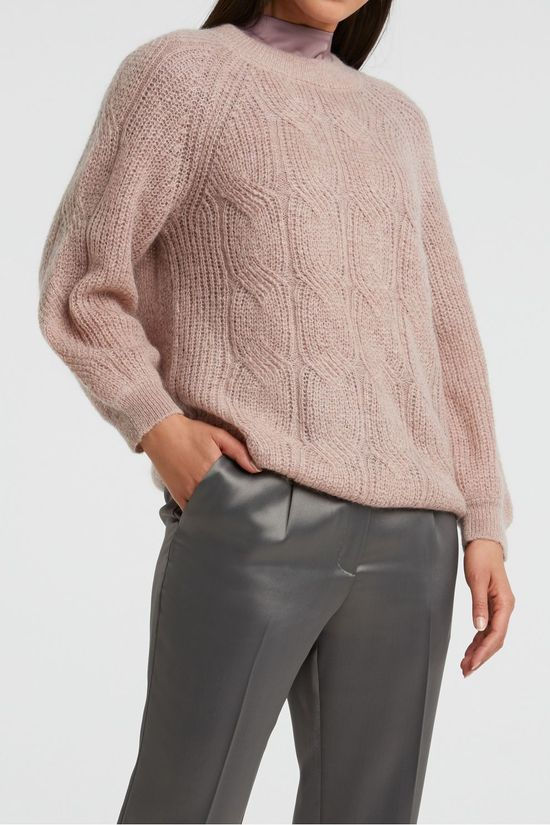Yaya Pullover Wool Blend Pointelle Knitted Sweater With Puff Sleeves light pink