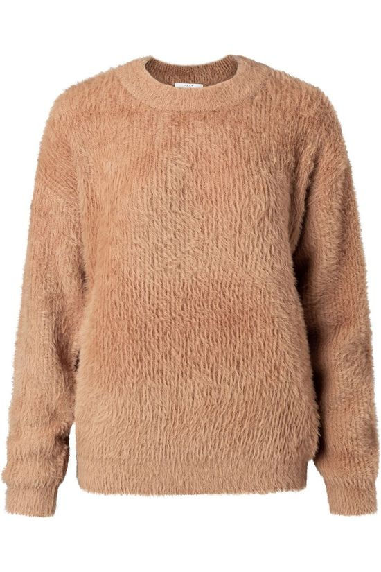 Yaya Pullover Fluffy Faux Fur Fabric Mix Sweater With Crew Neck Camel Brown