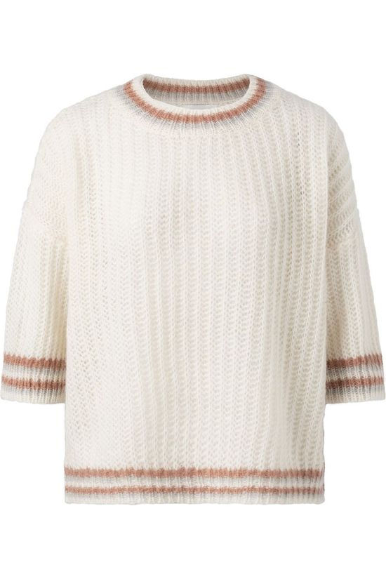Yaya Trui Fluffy Open Knitted Boxy With Contrast Stripes Gebroken Wit