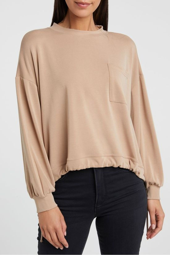 Yaya Pull Modal Blend Sweatshirt With Pocket And Drawstring Taupe