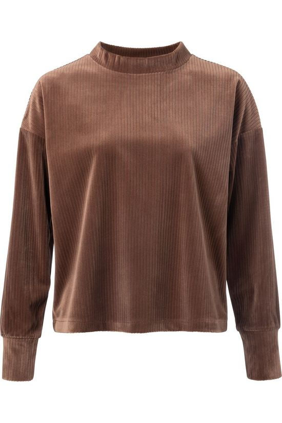 Yaya Trui Ribbed Velvet Mock Neck Sweatshirt Middenbruin