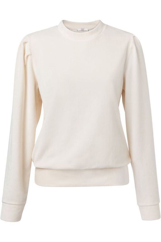 Yaya Trui Velvet Sweatshirt With Gathered Sleeves Gebroken Wit