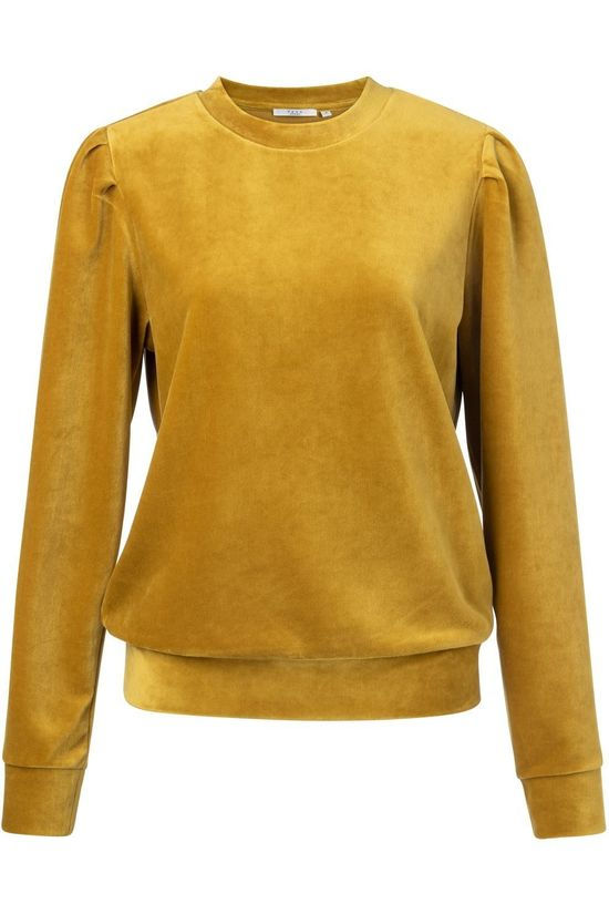 Yaya Pullover Velvet Sweatshirt With Gathered Sleeves dark yellow