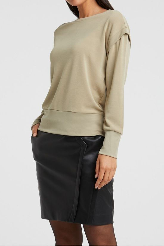 Yaya Trui Modal Blend Sweatshirt With Rib Shoulder Detail Lichtgroen