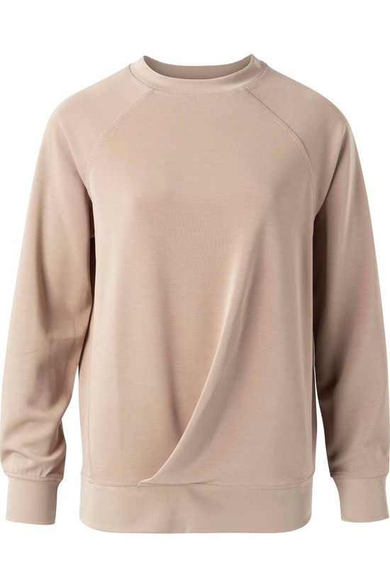 Yaya Pull Modal Blend Sweater With Pleats At Front Taupe