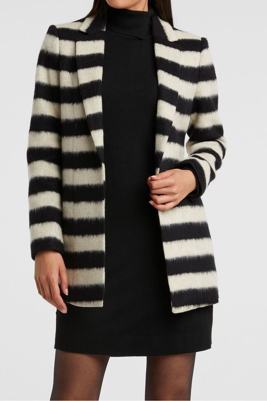 Yaya Blazer Wool Blend Blazer Jacket With Stripes Noir/Blanc