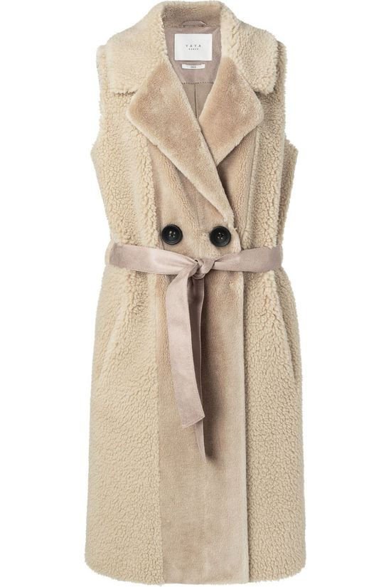 Yaya Bodywarmer Faux Shearling Long Sleeveless Coat Zandbruin