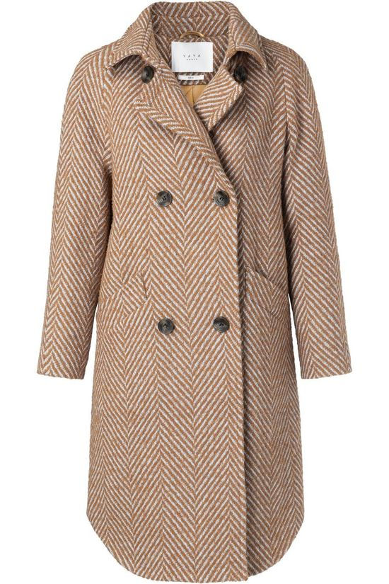 Yaya Jas Wool With Fishbone Print Roest/Gebroken Wit