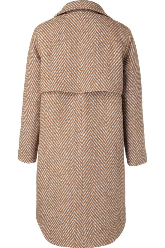 Yaya Coat Wool With Fishbone Print rust/off white