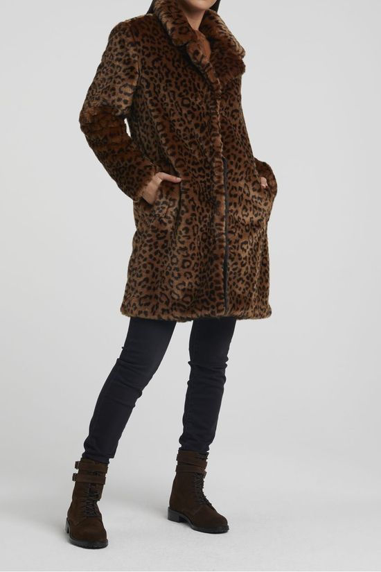 Yaya Jas Faux Fur With Animal Print Middenbruin/Donkergrijs