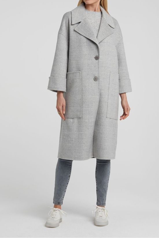 Yaya Manteau Long Wool Gris Clair