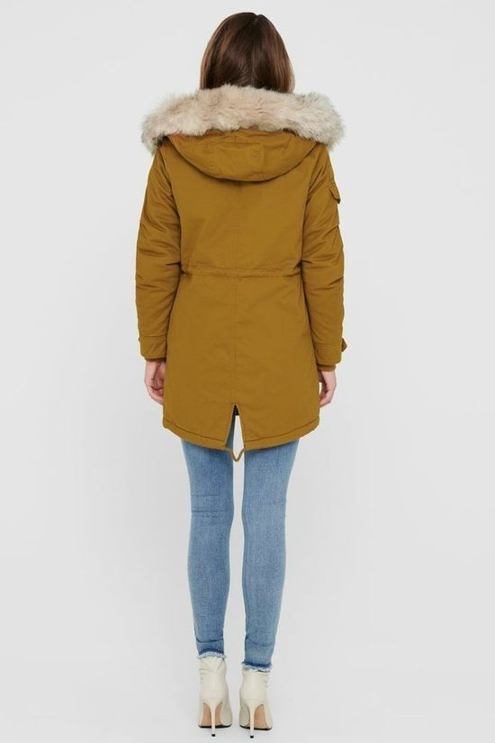 Only Jas may Life Fur Canvas Parka Kameelbruin