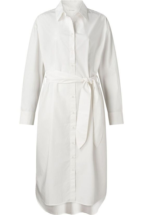 Yaya Robe Maxi Poplin In Cotton Blanc