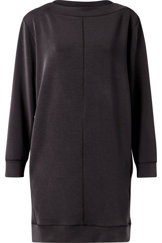 Yaya Robe Modal Blend With Contrast Stitching Gris Foncé