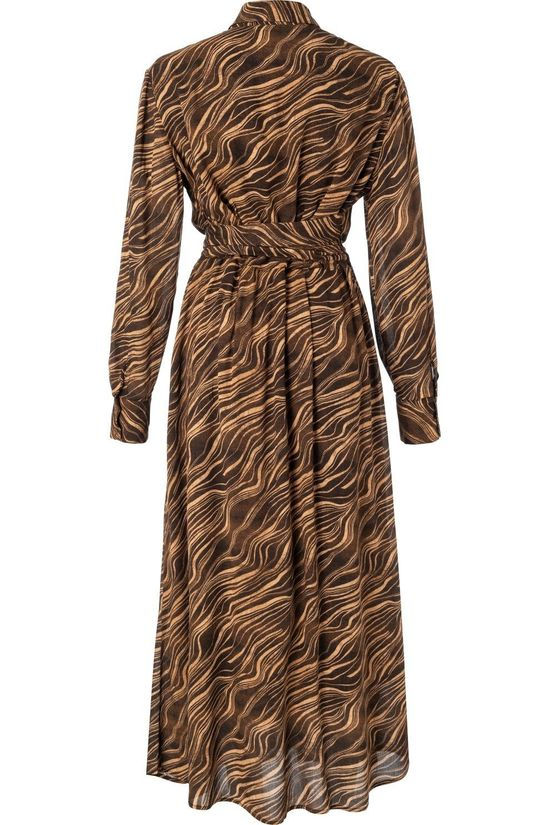 Yaya Robe Maxi Shirt With And Print Gris Foncé/Marron Chameau