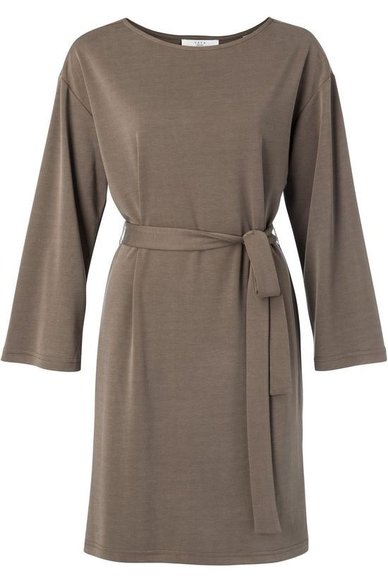 Yaya Robe Modal Blend Boat Neck With 3/4 Sleeves Brun Foncé