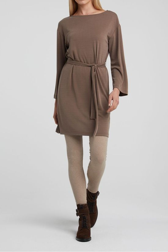 Yaya Jurk Modal Blend Boat Neck With 3/4 Sleeves Donkerbruin