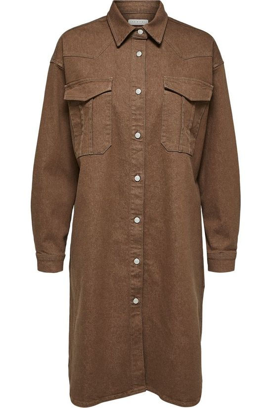 Selected Robe cille Ls Camel Denim W Brun Clair