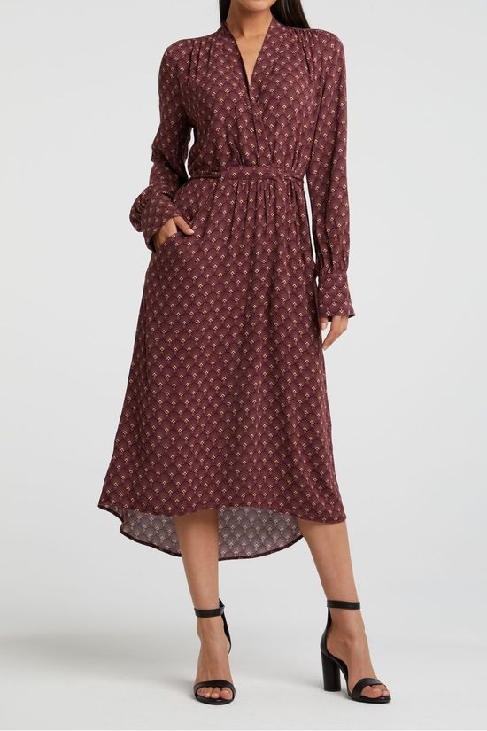 Yaya Robe Feminine Fit Dress With Belt And Art Deco Pattern Bordeaux / Marron/Ass. Géométrique