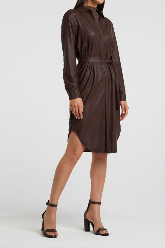 Yaya Jurk Faux Leather Belted Shirt Dress With Curved Hem Donkerbruin