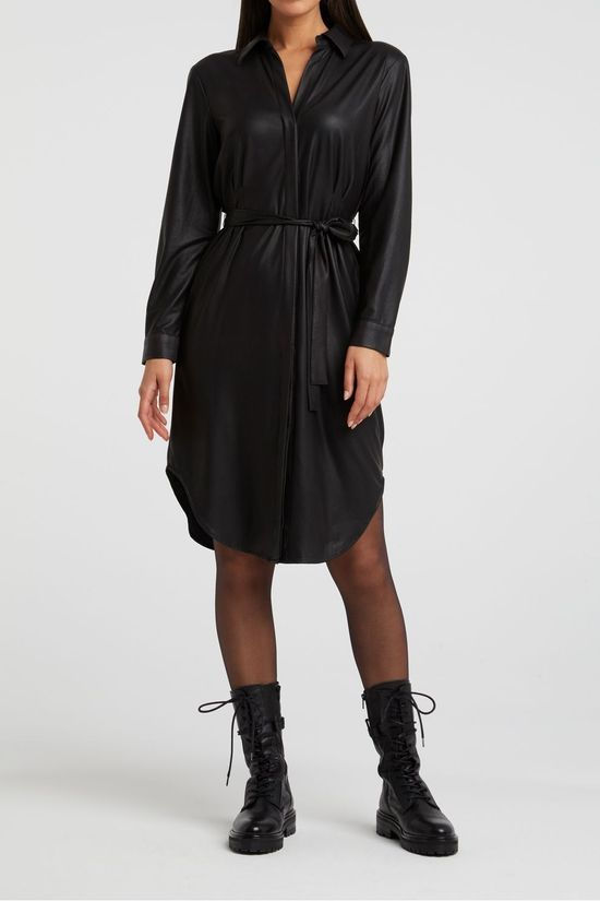 Yaya Jurk Faux Leather Belted Shirt Dress With Curved Hem Zwart