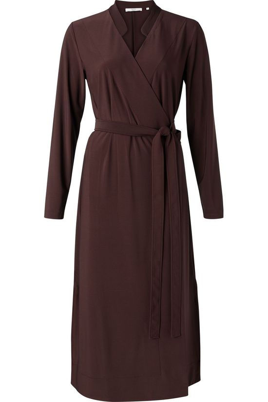 Yaya Jurk Jersey A-Line Wrap Dress With V-Neck Bordeaux / Kastanjebruin