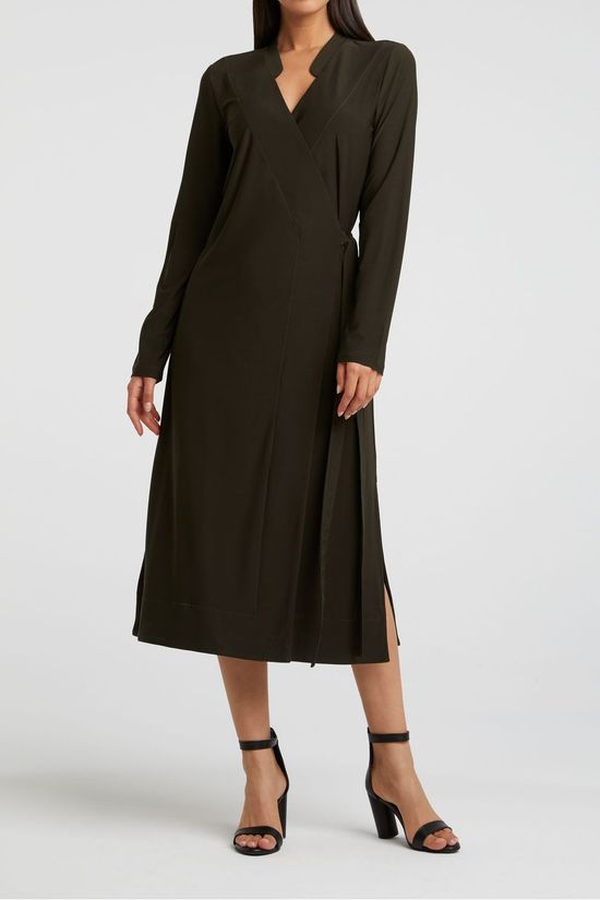 Yaya Dress Jersey A-Line Wrap Dress With V-Neck dark green