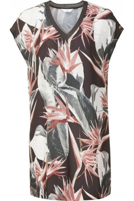 Yaya Jurk Woven Jungle Flower Print Zwart/Middenroze