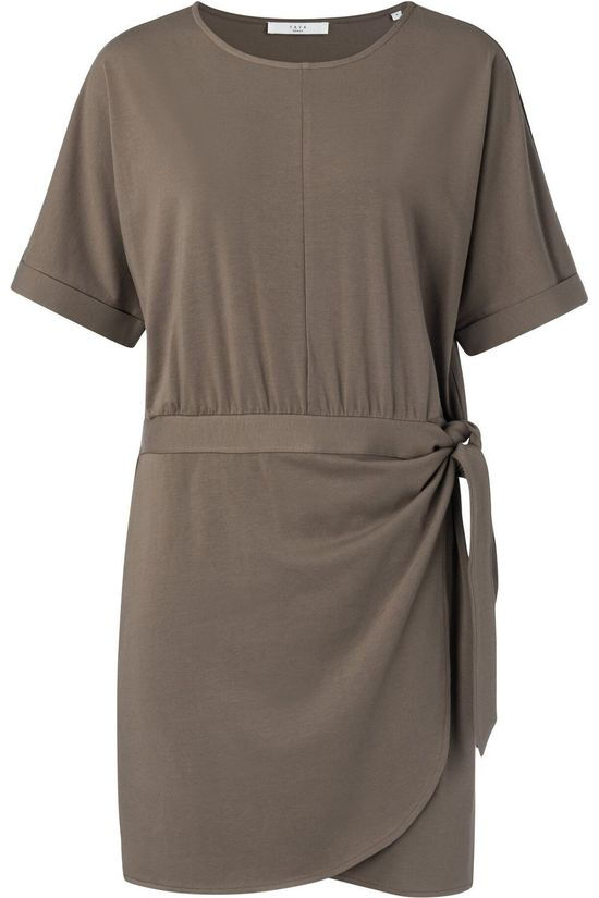 Yaya Jurk Modal Cotton Blend Wrap With Short Sleeves Middenbruin