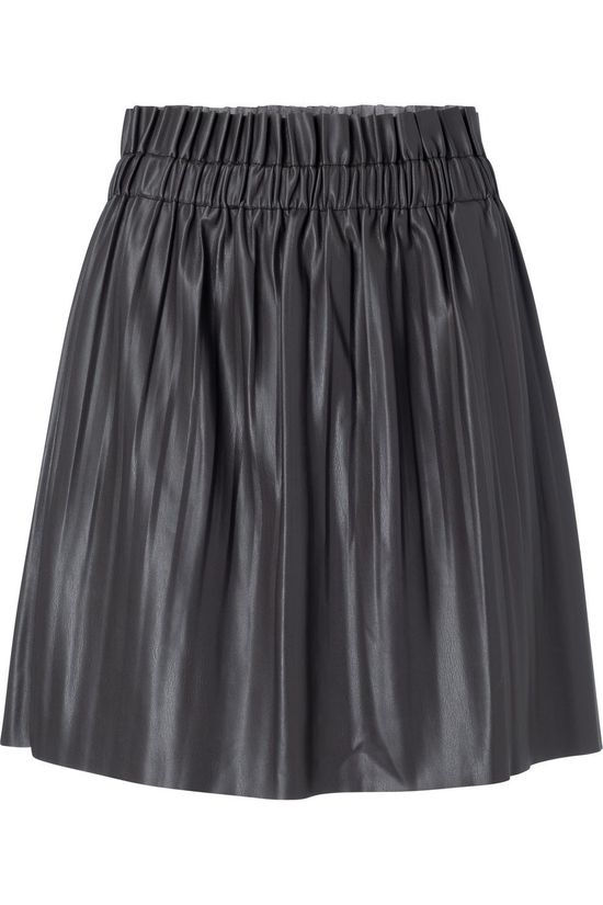Yaya Rok Faux Leather Mini With Pleats Donkergrijs