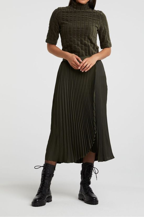 Yaya Jupe Satin Faux Wrapped Skirt With Pleats Brun Foncé