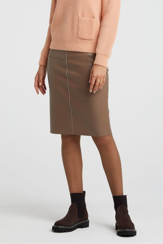 Yaya Rok Faux Leather Pencil Skirt With Seams Taupe