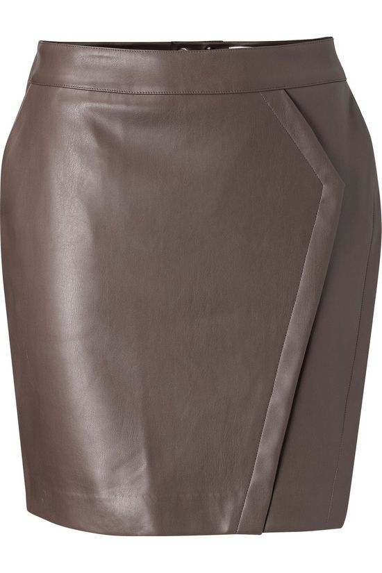 Yaya Rok Faux Leather Mini Skirt Donkerbruin