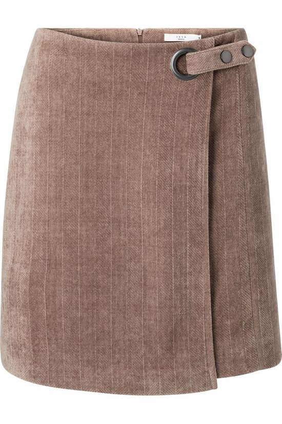 Yaya Skirt Structured With Belt And Fishbone Pattern Taupe