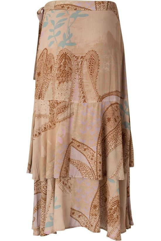 Yaya Rok Printed Midi With Faux Wrap Effect Lichtroze/Ass. Geometrisch