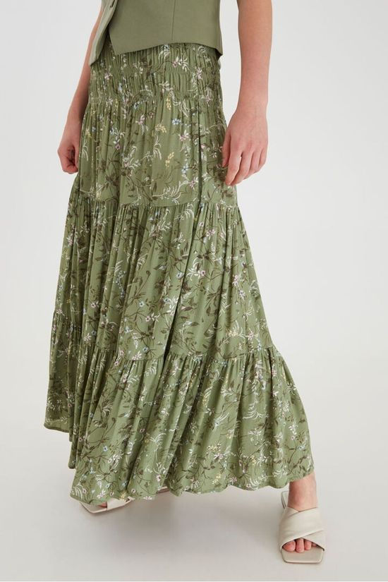 B.Young Skirt Byflaminia Fl Long Mid Khaki/Ass. Flower