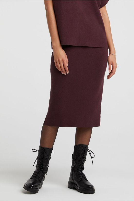 Yaya Rok Knitted Co-Ord Midi Bordeaux / Kastanjebruin