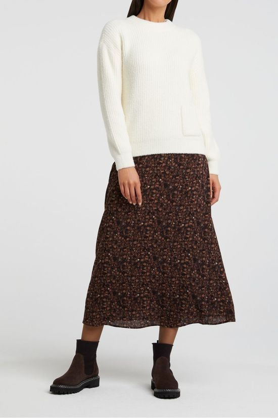 Yaya Rok A-Line Midi Skirt With Print Middenbruin/Ass. Bloem