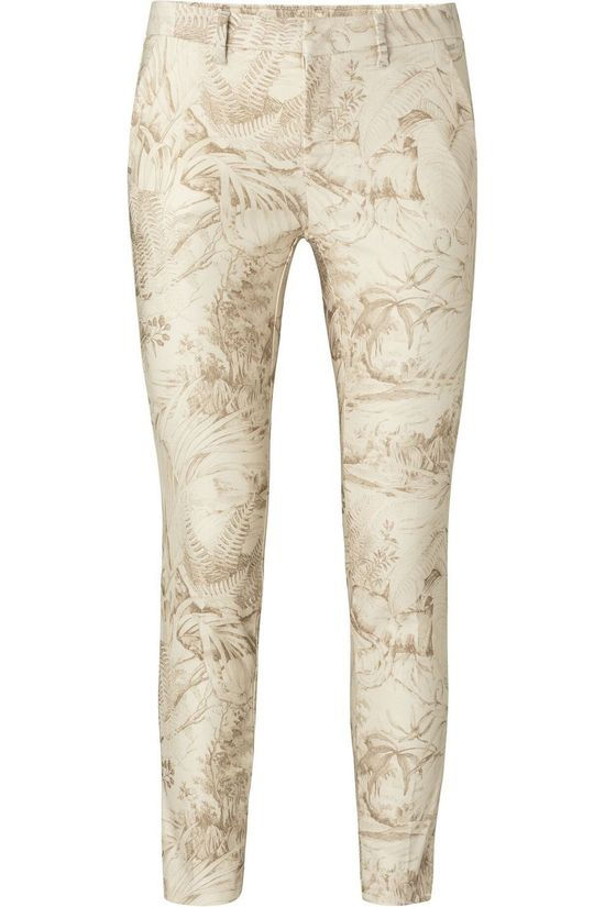 Yaya Broek Stretch With Print Ecru/Zandbruin
