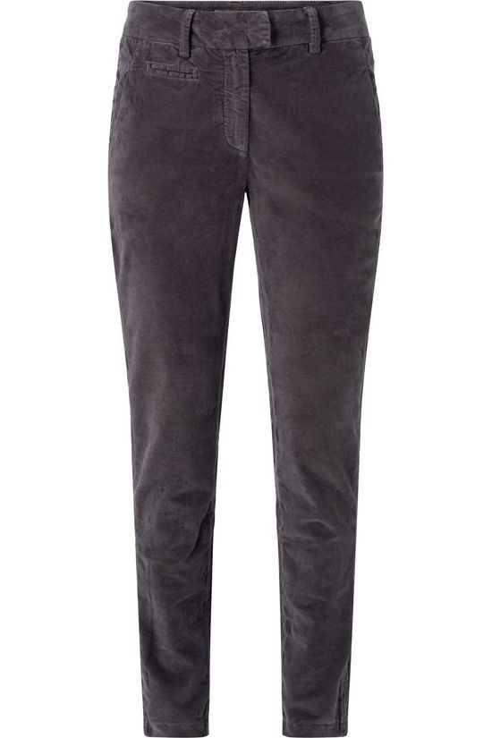 Yaya Broek Cotton Velvet Chino Trousers With Stretch Donkergrijs