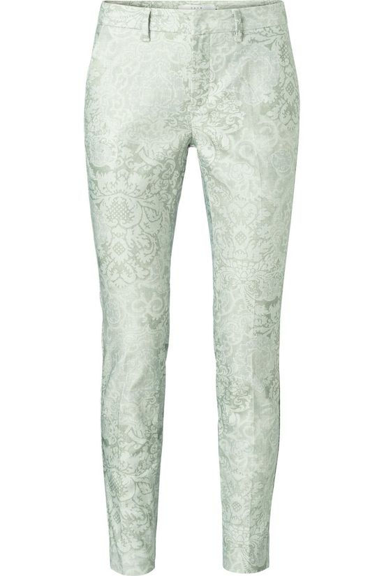 Yaya Broek Cotton Blend Stretch Chino Trousers With Floral Print Lichtgroen