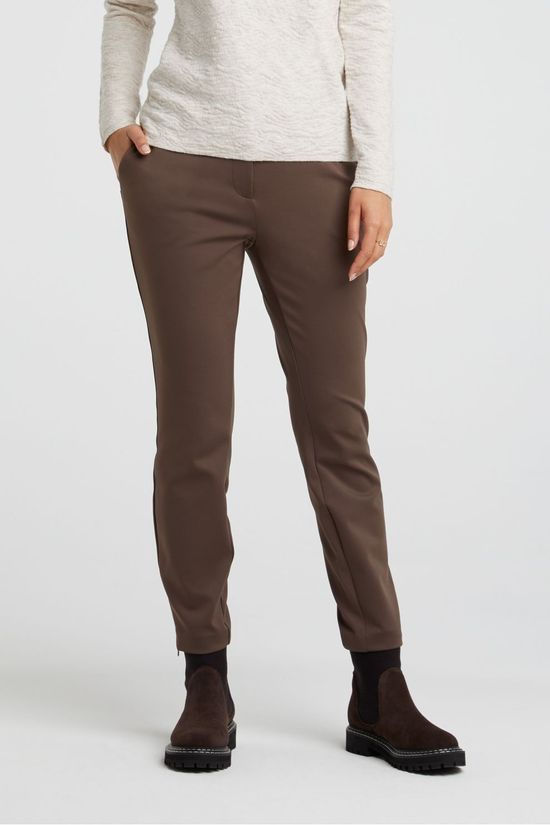 Yaya Trousers Jersey Stretch Tailored Trousers With Satin Waistband dark brown