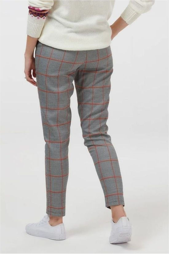 Sugarhill Boutique Broek Penny Windowpane Check Slim Fit Zwart/Roest
