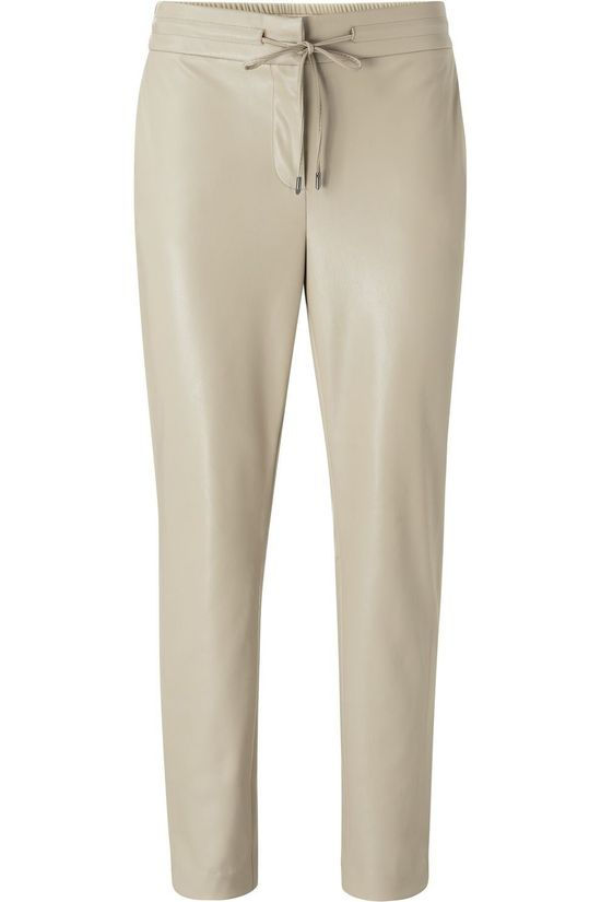 Yaya Broek Faux Leather Relaxed Lichtgroen