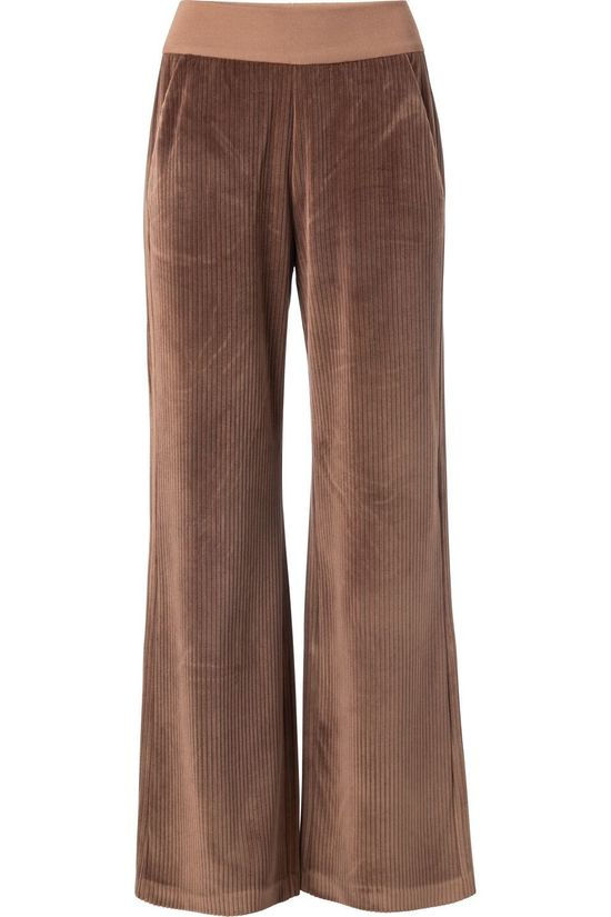 Yaya Broek Ribbed Wide Leg Middenbruin